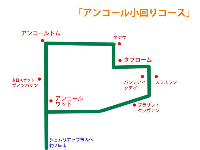 アンコールワット小回りコースの地図