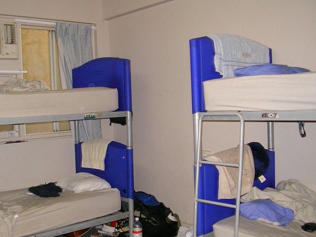 男女兼用ドミトリー、2段ベッド