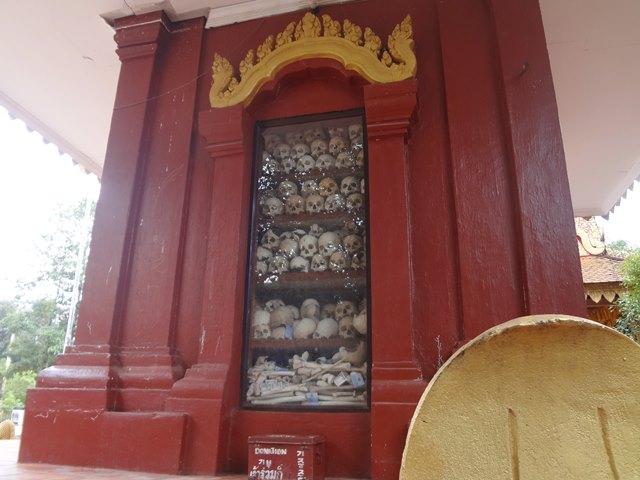 キリングフィールドの慰霊塔の頭蓋骨