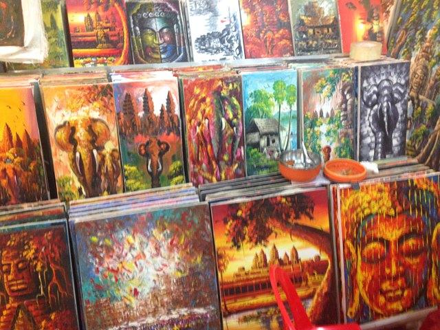 ナイトマーケットで売られているカンボジアの絵