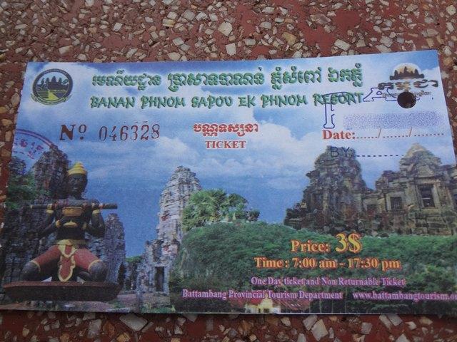 バッタンバンにある寺院の共通チケット