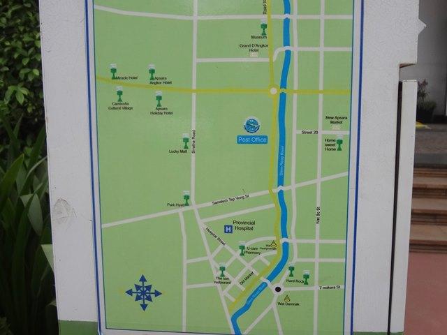 シェムリアップの郵便ポストのある場所の地図