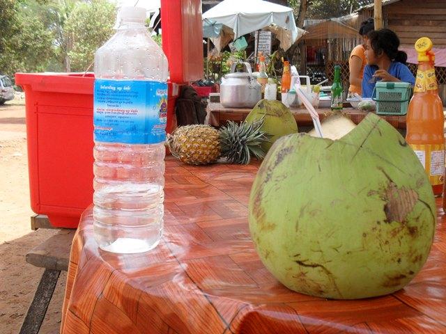 ベンメリア遺跡前のレストランで飲んだココナッツジュース