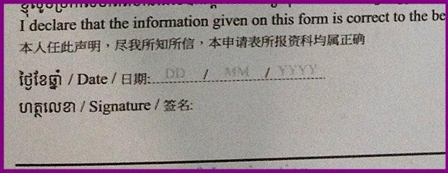 アライバルビザの申請用紙の記入例、下部
