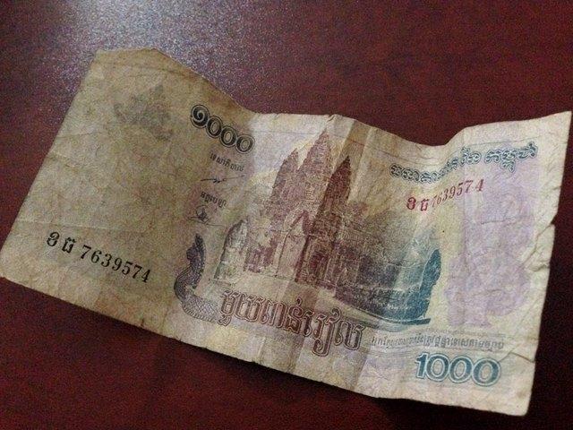 カンボジアのお金1000リエル札