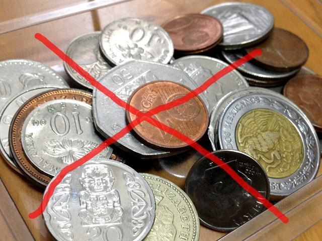 カンボジアでは使用できない各国の硬貨