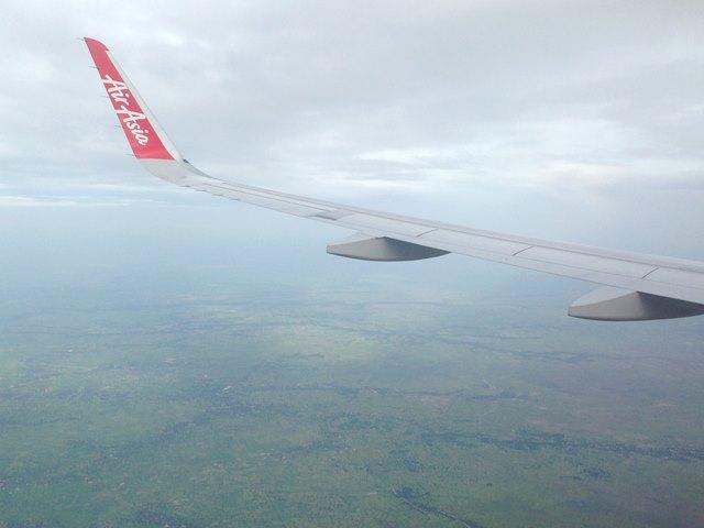 エアアジアの機内から見える景色