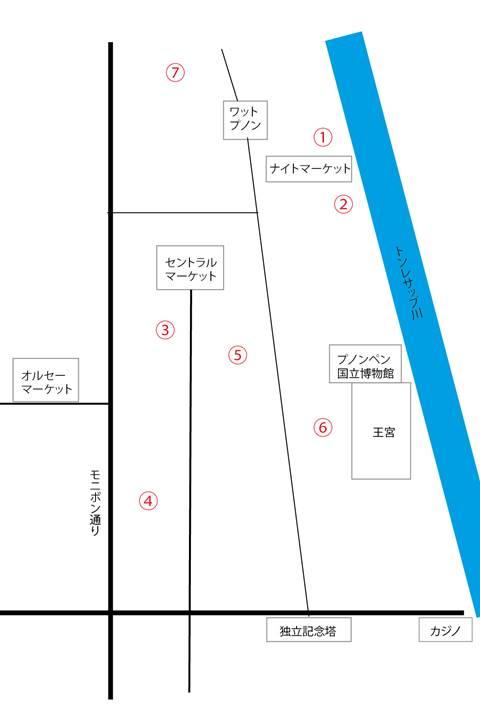 プノンペンのゲストハウスの立地の地図
