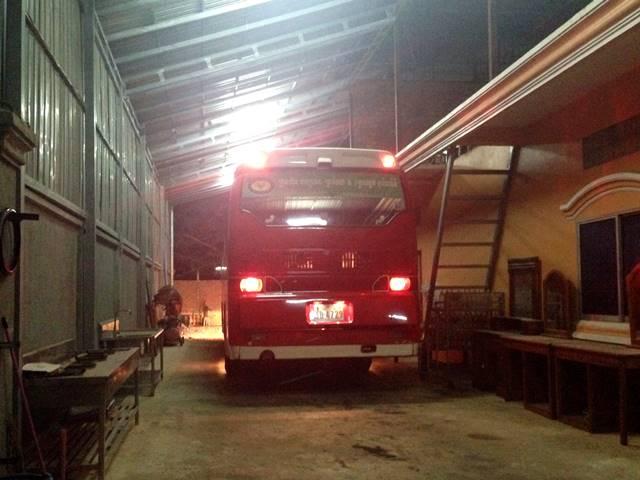 バンコクからのバスのシェムリアップの到着所