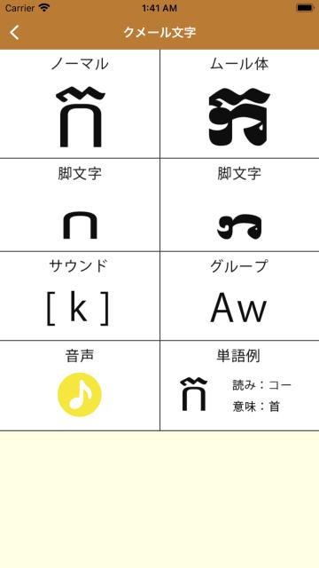 各クメール文字(子音)の詳細ページ